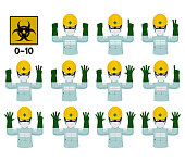 Set of industrial worker with Bio Hazard protective suit is gesturing hand sign (0-10)