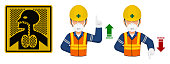 Set of industrial worker with dust mask is gesturing hand sign ( increase,decrease)