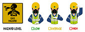 Set of industrial worker with gas mask is gesturing hand sign ( high low average)