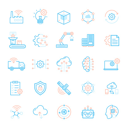 Set of Industry 4.0 Related Flat Line Icons. Simple Outline Symbol Icons.