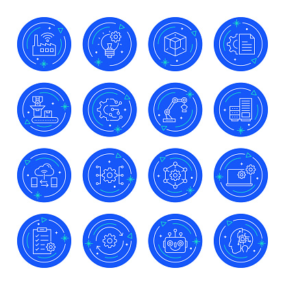 Set of Industry 4.0 Related Line Icons. Editable Stroke. Simple Outline Icons.