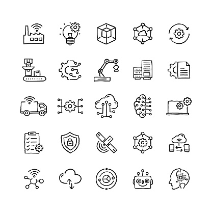Set of Industry 4.0 related objects and elements. Hand drawn vector doodle illustration collection. Hand drawn icon set.