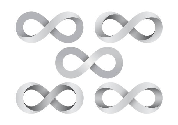 Set of Infinity signs made of different types of torsion. Vector illustration. Set of Infinity signs made of different types of torsion. Mobius strip symbols. Vector illustration isolated on a white background. eternity stock illustrations