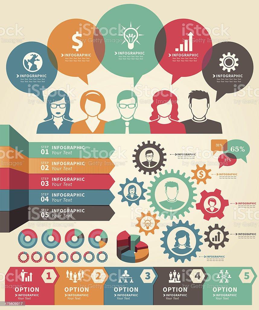 Set of infographic business concept elements vector art illustration