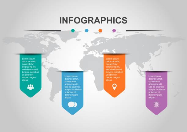 illustrations, cliparts, dessins animés et icônes de ensemble de modèle de conception infographique avec bannières - infographie processus