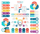 istock Set of Infographic Elements and Profit and Loss Infographic Elements. 1203811881
