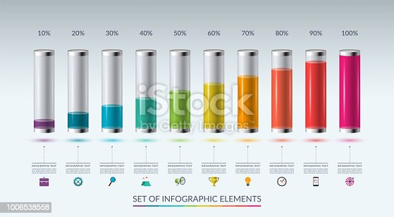 Set of infographic elements for graph, chart or diagram in the form of glass flasks filled with colored liquid. Vector illustration