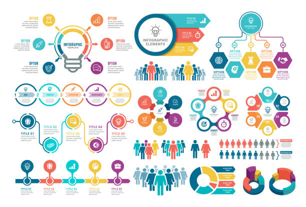 ilustrações, clipart, desenhos animados e ícones de conjunto de elementos infográficos - infographic