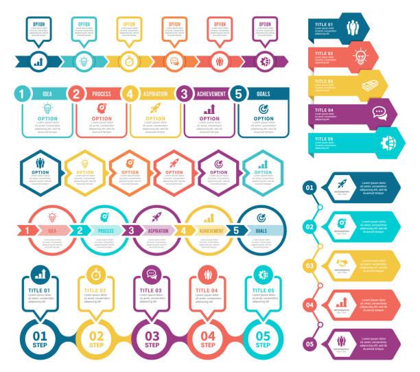 illustrations, cliparts, dessins animés et icônes de ensemble d'éléments infographiques - timeline