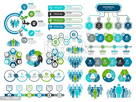 Vector illustration of the infographic elements, bar chart, circle diagram, timeline.