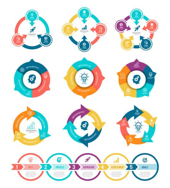 인포그래픽 요소 세트 - 부분의 stock illustrations