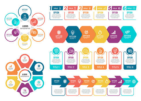 Vector illustration of the infographic elements, circle diagram, timelines, number 6.