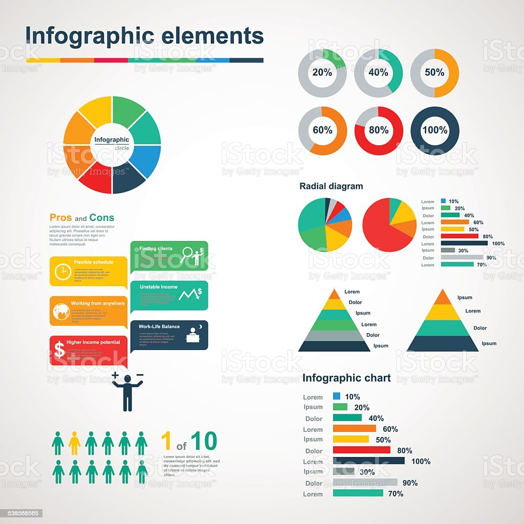 Set of infographic elements vector art illustration
