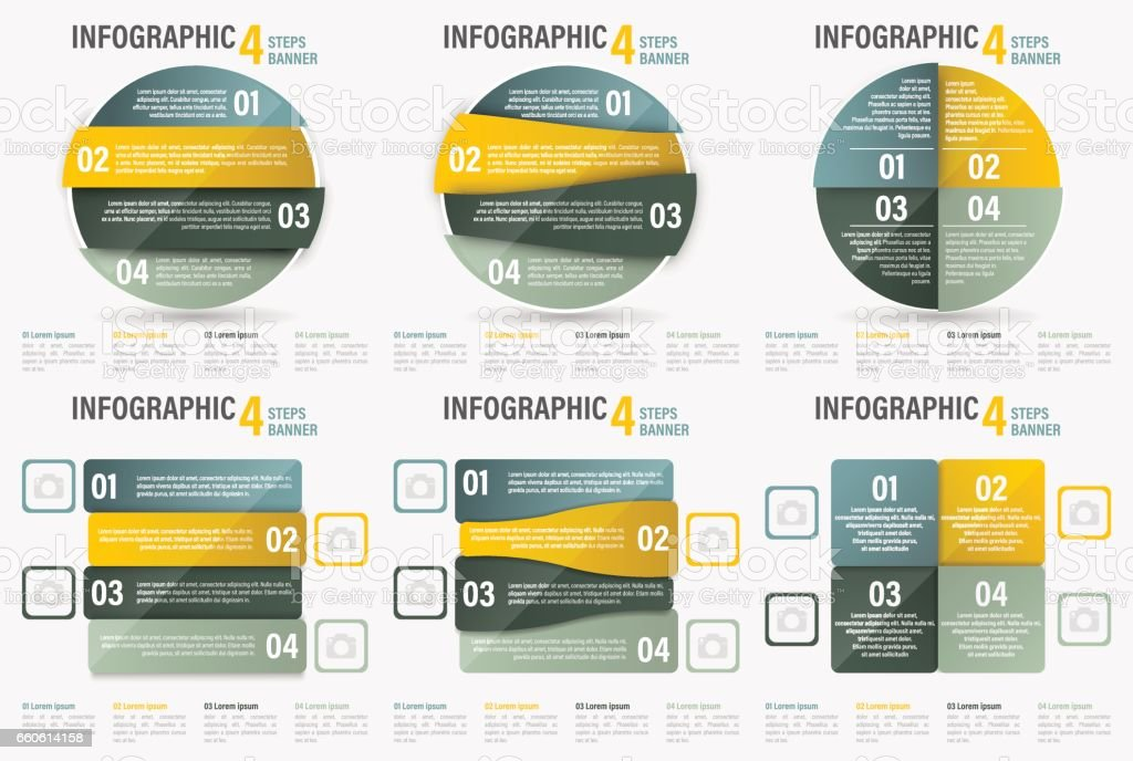 Set of Infographic four steps vector banner. royalty-free set of infographic four steps vector banner stock vector art & more images of backgrounds