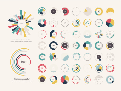 Set of infographic pie charts