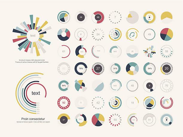 illustrations, cliparts, dessins animés et icônes de ensemble d'infographie graphiques de tarte - infographie visualisation de données