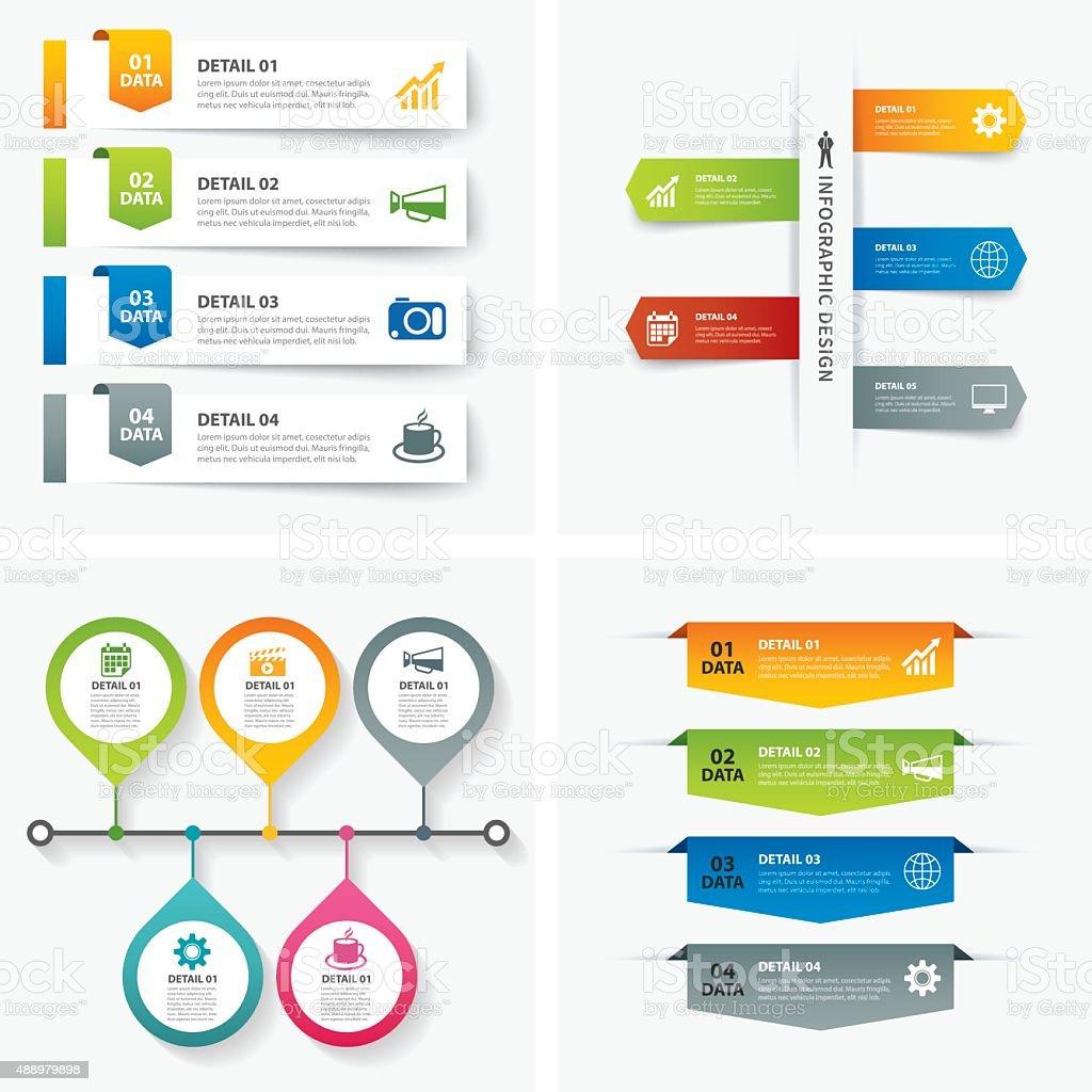 set of infographic templates flat design vector art illustration