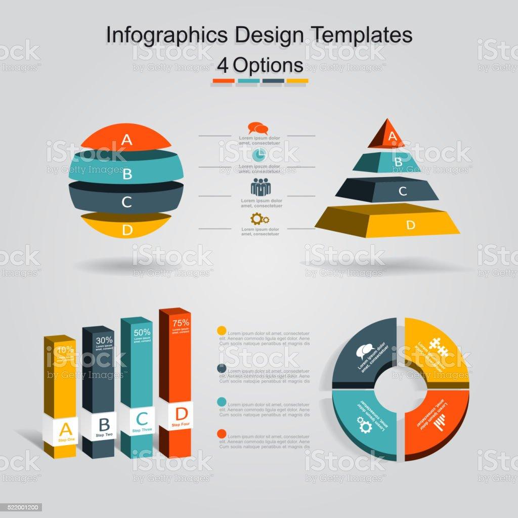 Ilustración de Conjunto De Infografía Diseño Plantilla Con Cuatro ...