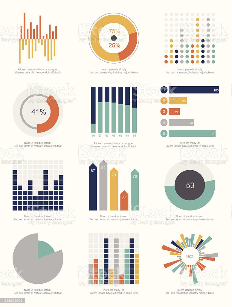 set of infographics elements vector art illustration