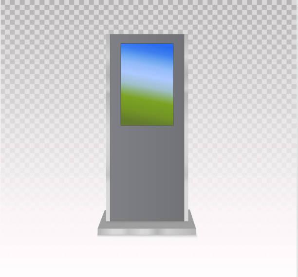 stockillustraties, clipart, cartoons en iconen met set informatiezuilen met lege schermen geïsoleerd op een witte achtergrond. betaling terminal mockup. vectorillustratie - board game outside