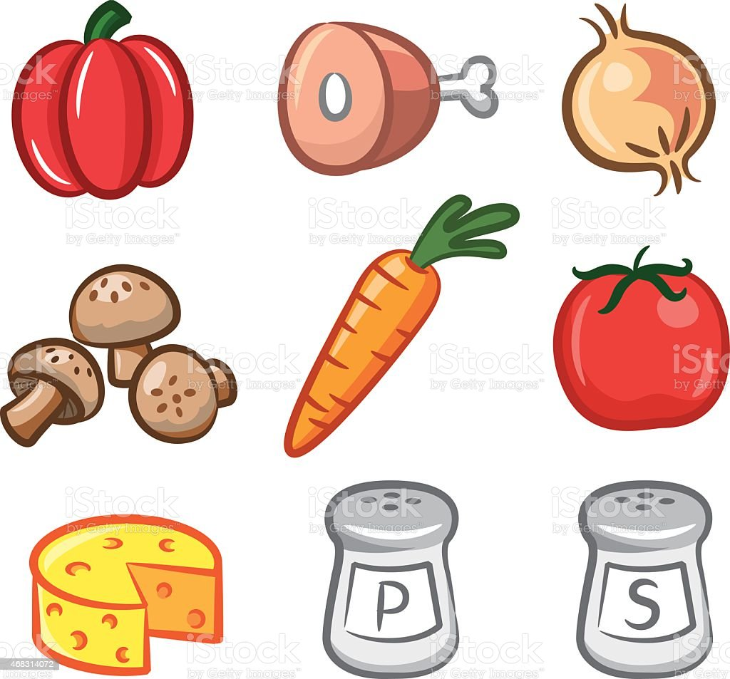 set of ingredient icon vector art illustration