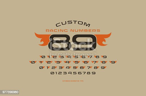 Set of initial extended numbers in racing style. For sticker and emblem design. Isolated on brown background