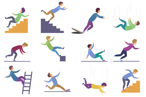 Set of injuring people falling down the stairs and over the edge, ladder, drop from the altitude, wet floor falling, stumbling on the sewer hall, tripping on stairs isolated on white background. vector art illustration