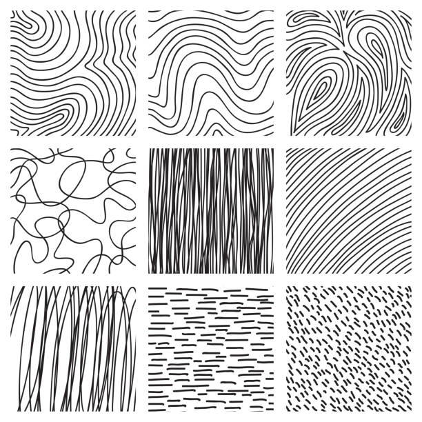 Set of ink hand drawn hatch texture. Collection of vector ink lines, points, hatching, strokes. Abstract black and white backgrounds. vector natural pattern stock illustrations