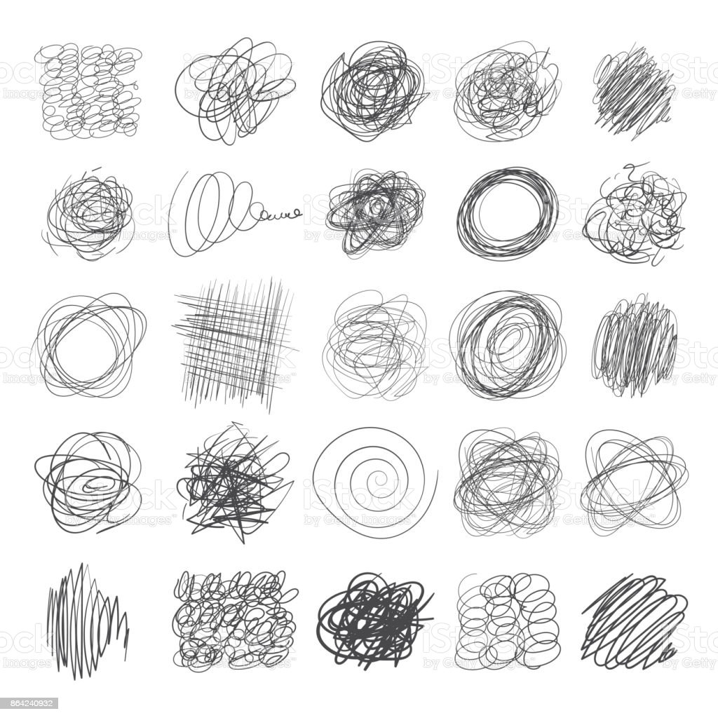 Set of ink lines of hand drawn textures, scribbles of pen vector art illustration