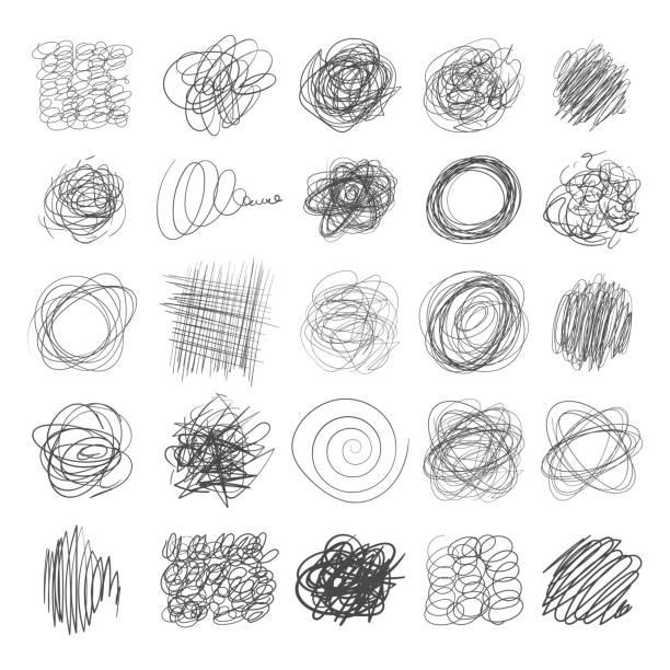 illustrations, cliparts, dessins animés et icônes de ensemble de lignes d'encre des textures dessinées à la main, dessins à main levée de plume - griffonnage