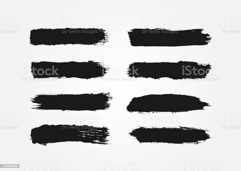 Set of ink strokes. Eight isolated black smears. Grunge. vector art illustration