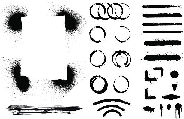 set of inky grunge and stencil shapes black set of inky grunge and stencil shapes aerosol can stock illustrations
