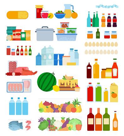 Set of Inside Refrigerator icons flat vector