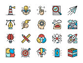 Set of Creative and Inspiration Flat Color Line Icons. Computer Graphics, Checklist, Innovation, Lighthouse, Battery, Air Balloon, Puzzle, Swatch Palette, Projects and more. Pack of 48x48 Pixel Icons