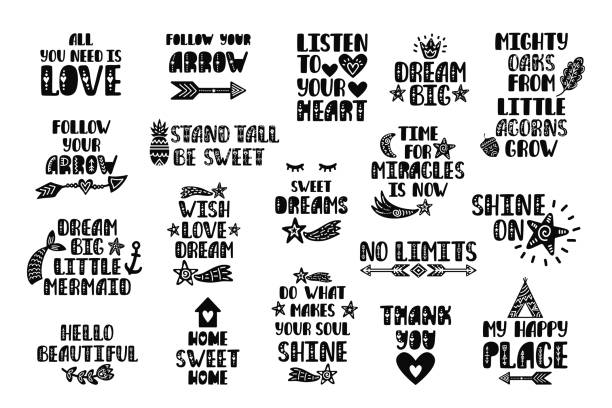 Set of inspirational printable quotes. Vector hand drawn phrases Set of inspirational printable quotes. Vector hand drawn phrases for print, poster, tshirt, playroom, nursery, apparel decoration, greeting card. Nordic typographic design. alphabet clipart stock illustrations