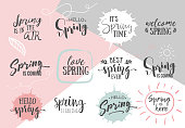 Set of Inspirational Spring romantic handwritten quotes. Good for greetings, posters, t-shirt, prints, cards, banners.  Vector Lettering. Typographic element for your design