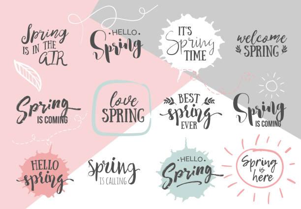 bildbanksillustrationer, clip art samt tecknat material och ikoner med uppsättning av inspirerande våren romantiska handskrivna citat. bra för hälsningar, affischer, t-shirt, utskrifter, kort, banderoller.  vector bokstäver. typografiska element för din design - happy driver