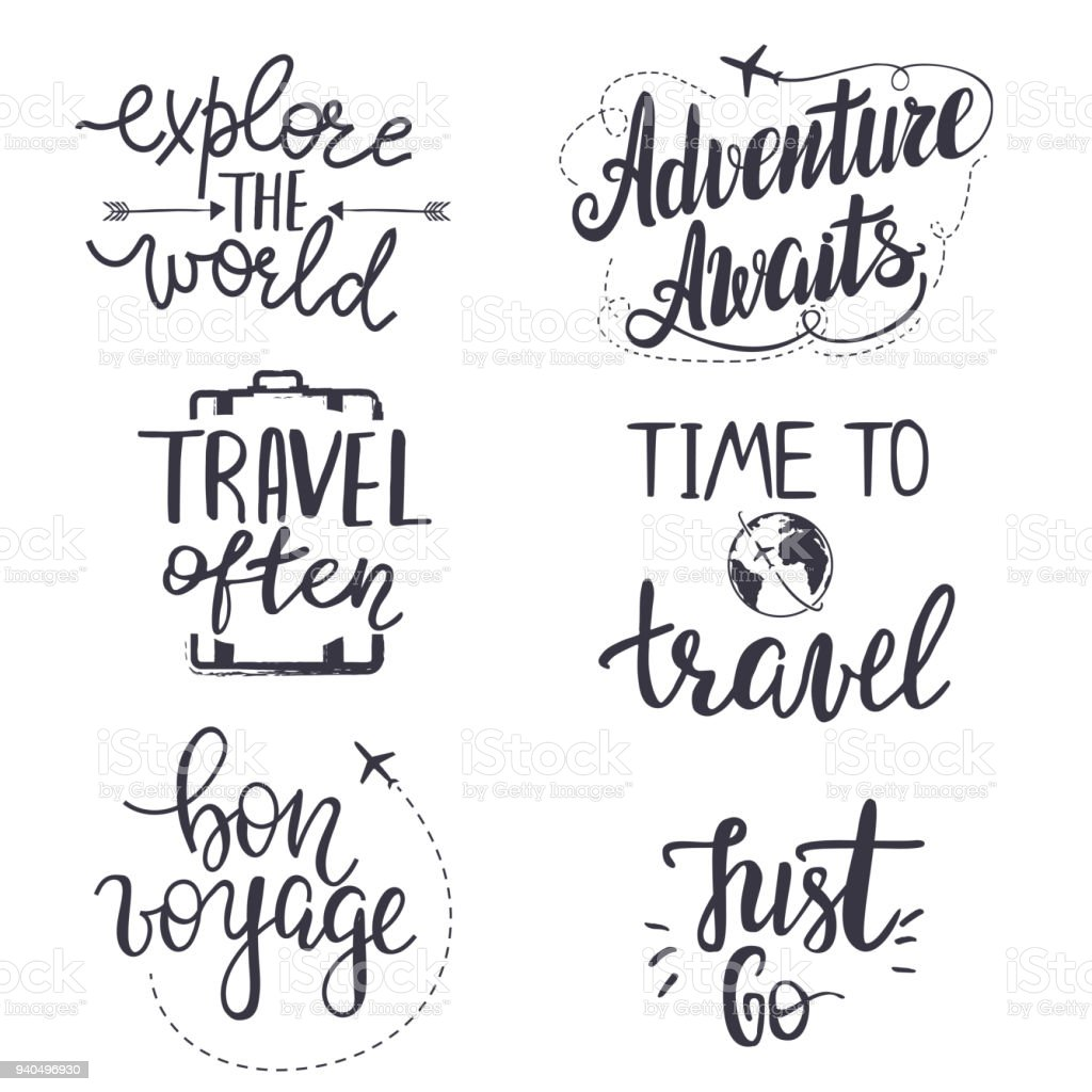 Set Of Inspirational Travel Quotes Royalty Free Stock Vector