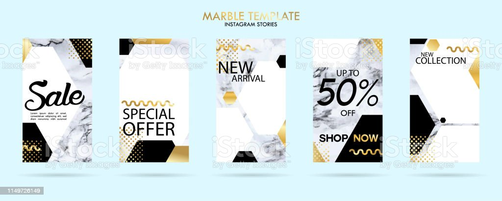 Set Of Insta Insta Stories Template Pack With Luxury Trendy Marble