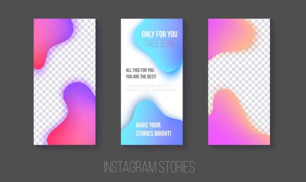 set von instagram-geschichten vorlagen mit gradientenflüssigkeit abstrakten stil - storytelling grafiken stock-grafiken, -clipart, -cartoons und -symbole