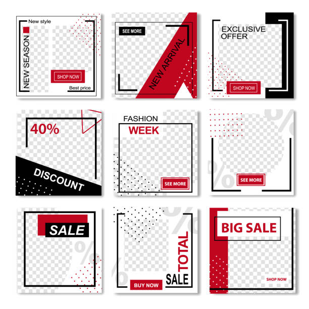 Set of Instagrame Promo Stories in Strict Design Instagrame Promo Stories Vector Illustration Set. Ads Post Streaming for Social Networks, Homepage. Best Price on New Collection and Arrival, Fashion Week, Sale Info, Discounts Template for Business square composition stock illustrations