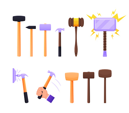 Set of Instruments Sledge Hammer, Wooden and Metal Thor Mallet. Working Tools of Carpenter, Builder Handles and Steel Base for Hammering Nails and Breaking Objects. Cartoon Vector Illustration, Icons