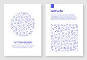 Set of Insurance and Protection Icons Vector Pattern Design for Brochure,Annual Report,Book Cover.