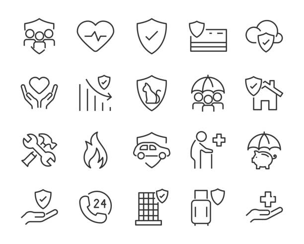 set of insurance icons, emergency, secure, risk - call center stock illustrations