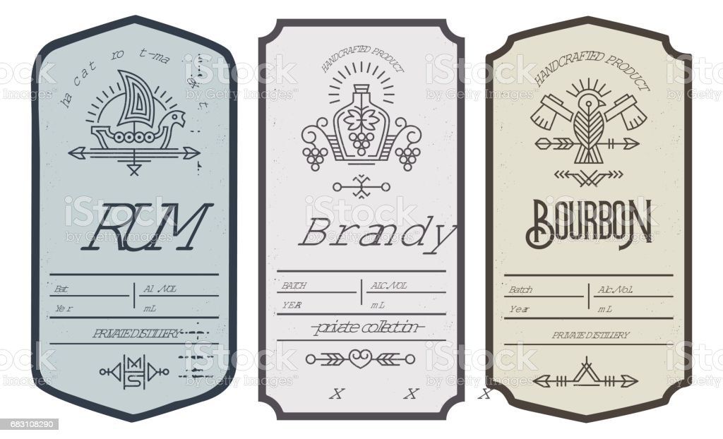 Set of intage bottle label design with ethnic elements in thin line style. vector art illustration