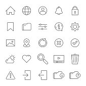 Set of Interface Related Line Icons. Editable Stroke. Simple Outline Icons.