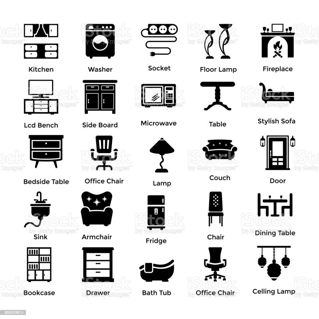 Satz Von Inneneinrichtung Und Dekoration Glyphe Symbole 1 Lizenzfreies Satz  Von Inneneinrichtung Und Dekoration Glyphe Symbole