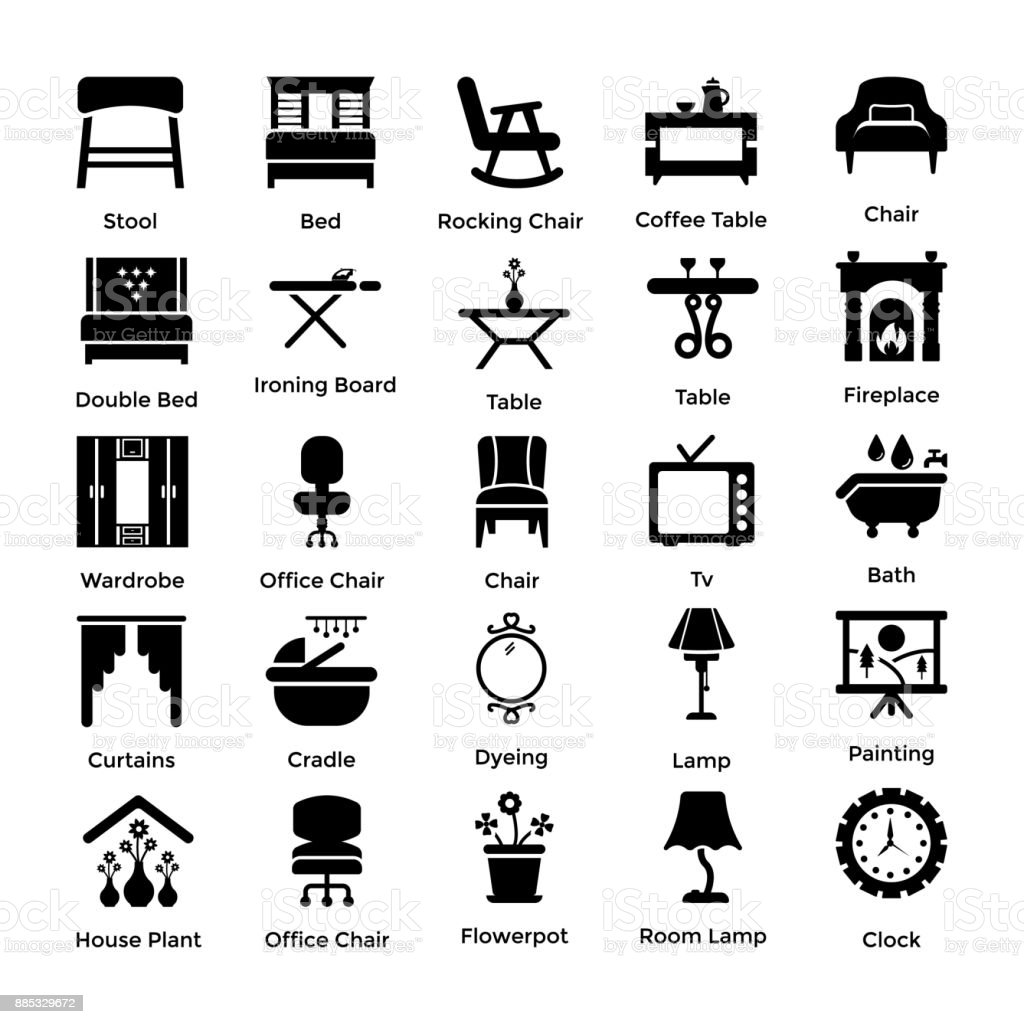 Set of Interior and Decoration Glyph Icons 5 vector art illustration