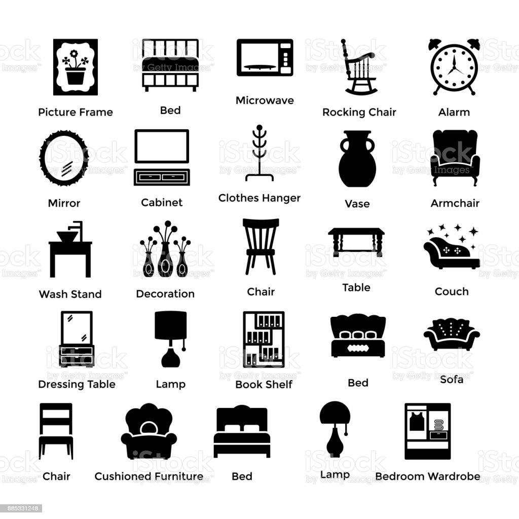 Set of Interior and Decoration Glyph Icons 7 vector art illustration