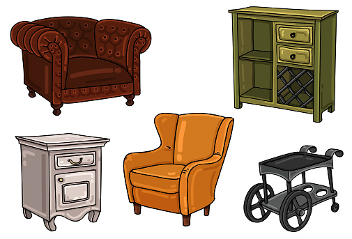 Set of interior decoration elements. Leather armchair, cabinet, bar cart, nightstand, chair.